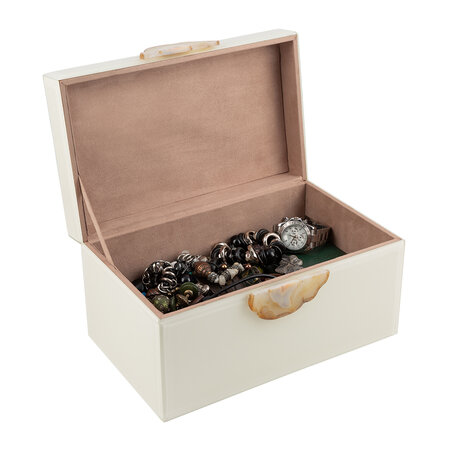 Luxe - Agate Handle Jewellery Box - Ivory