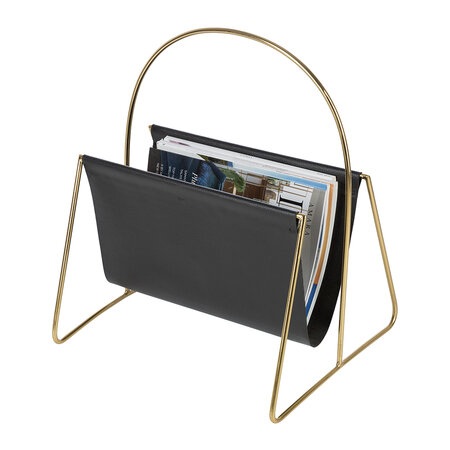 Luxe - Leather Magazine Basket - Gold/Black