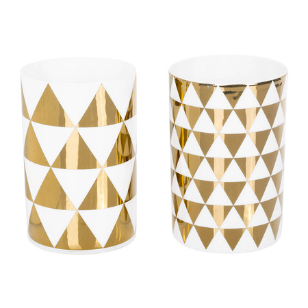 Bloomingville - Set of 2 Votives - White with Gold Triangles