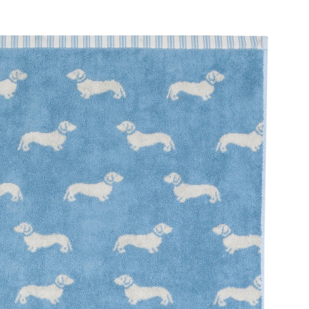 Emily Bond - Blue Dachshund Jacquard Towel - Bath Sheet