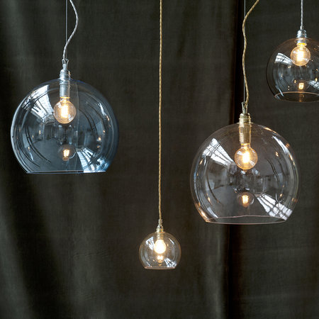 Ebb & Flow - Rowan Pendant Lamp - Clear with Brass - 28cm