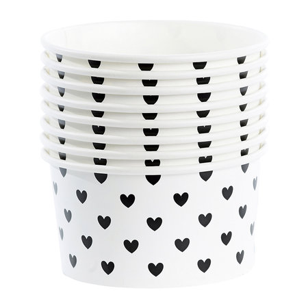 Miss Étoile - Ice Cream Cups With Spoons - Set of 8 - Black Hearts