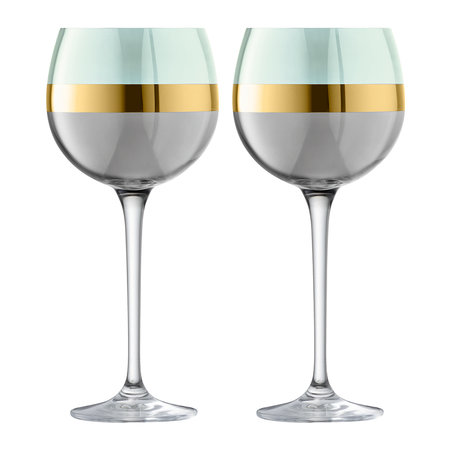 LSA International - Bangle Balloon Wine Glass - Set of 2 - Melon - Melon
