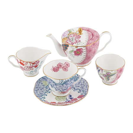 Wedgwood - Butterfly Bloom Teacup and Saucer Blue and Pink