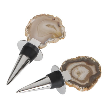 Luxe - Natural Agate Bottle Stoppers - Set of 2