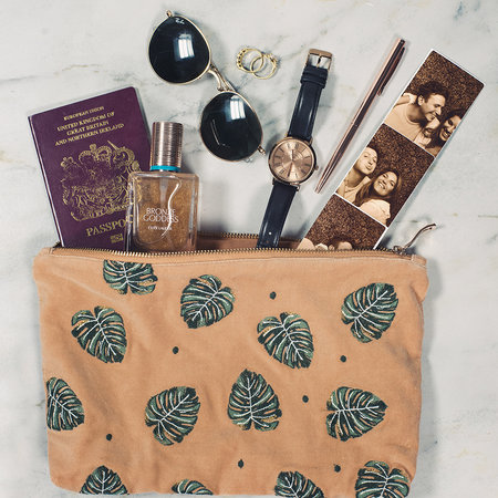 Elizabeth Scarlett - Jungle Leaf Velvet Travel Pouch - Copper
