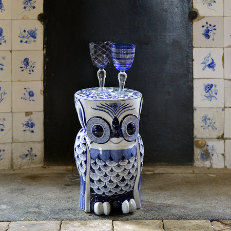 Pols Potten - Blue Porcelain Flower Owl Stool