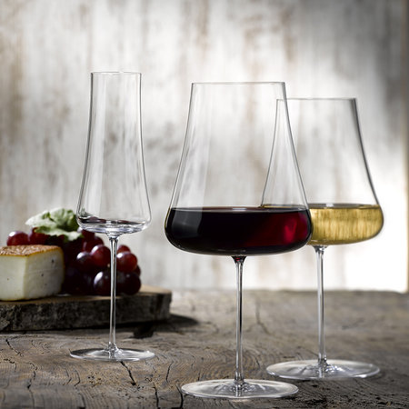 Buy nude stem zero wide wine glass amara for Thin stem wine glasses