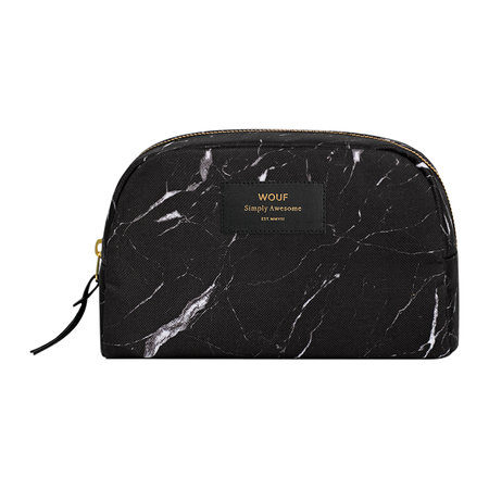 Wouf - Marble Cosmetic Bag - Black - Large