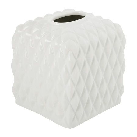 Villari - Black Tie Tissue Box - White