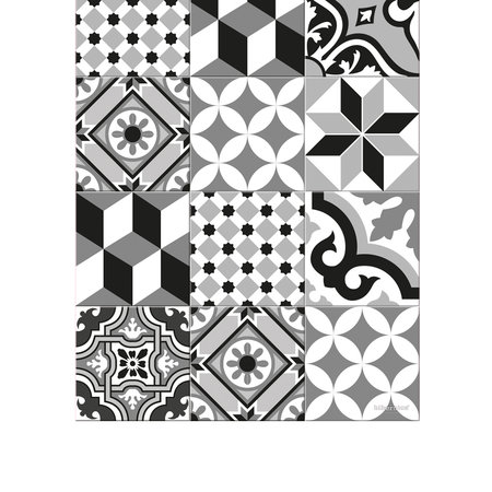 BEAUMONT - Large Tiles Vinyl Runner - Black/White - 66x198cm