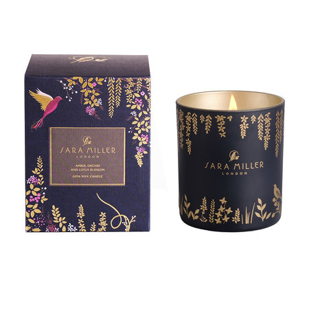 Sara Miller - Printed Glass Soy Wax Candle - 240g - Amber, Orchid & Lotus