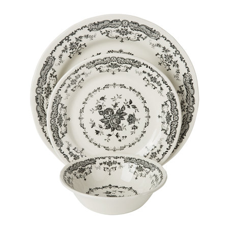 Bitossi Home - Rose Patterned Side Plate - Black