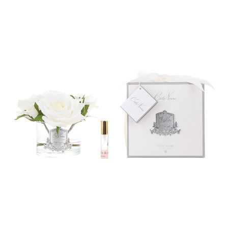 Côte Noire - Roses in White Glass with Giftbox - Ivory