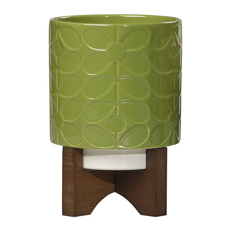 Orla Kiely - Ceramic Planter with Wooden Base - Sixties Stem - Leaf - Small