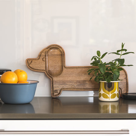 Orla Kiely - Dachshund Serving Board - Acacia Wood/Persimmon