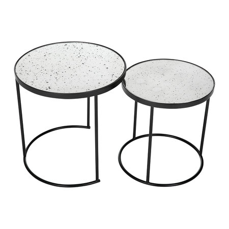 Luxe - Round Table with Glass Top - Set of 2