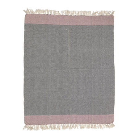 Bloomingville - Tassel Edged Striped Cotton Throw - Rose - 160x130cm - Rose