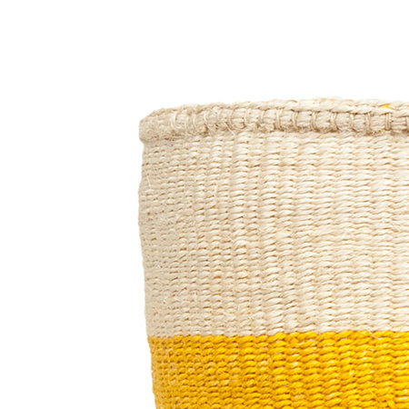 The Basket Room - Color Block Alizeti Hand Woven Basket - Yellow - M