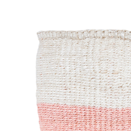 The Basket Room - Colour Block Jioni Hand Woven Basket - Pink - M
