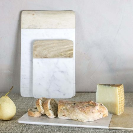 Nkuku - Bwari Long Marble & Mango Wood Serving Board - White - Small