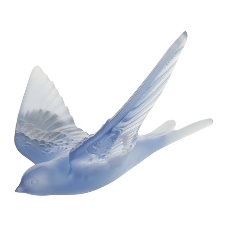 Lalique - Hirondelles Swallow Wings Up Crystal Sculpture - Sapphire Blue