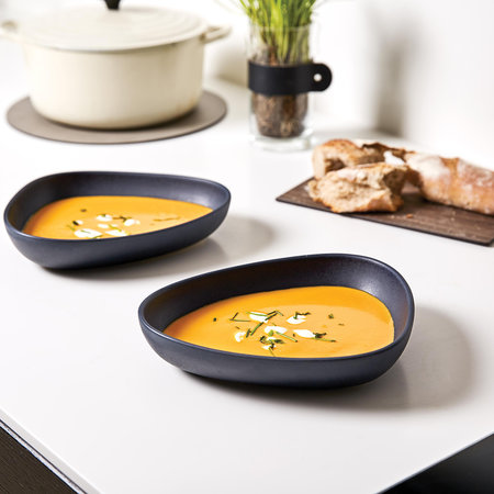LIND DNA - Curve Stoneware Deep Plate - Set of 2 - Navy