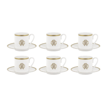 Roberto Cavalli - Silk Gold Espresso Cups & Saucers - Set of 6