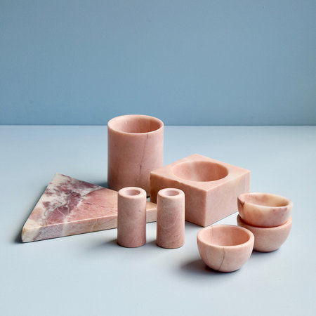 Stoned - Marble Square Block Bowl - Pink