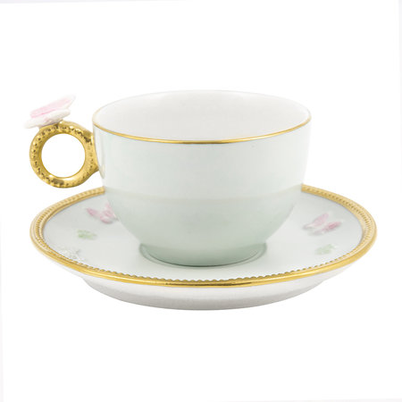 Villari - Butterfly Tea Box - Set of 2 Cups & Round Saucers - Aquamarine