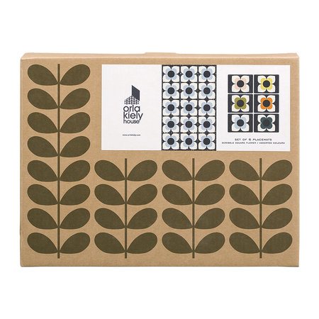 Orla Kiely - Scribble Square Flower Placemats - Set of 6
