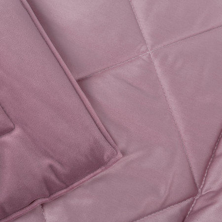 A by Amara - Square Velvet Bedspread - Lilac - 240x200cm