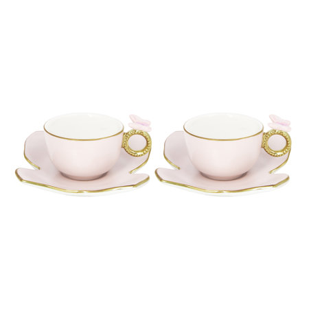 Villari - Butterfly Coffee Box - Set of 2 Cups & Butterfly Saucers - Baby Rose
