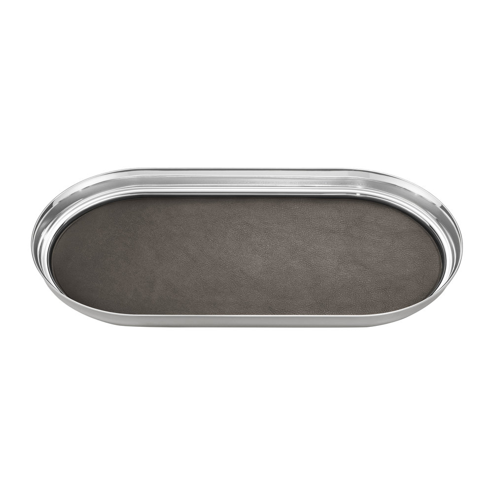 Georg Jensen - Manhattan Oblong Tray with Leather Inlay