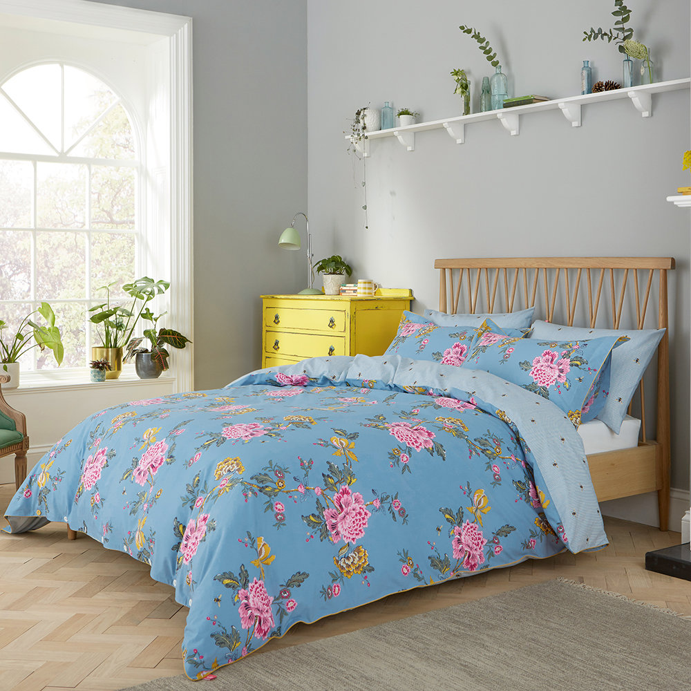 Joules - Chinoise Floral Duvet Cover - Frozen Blue - Super King