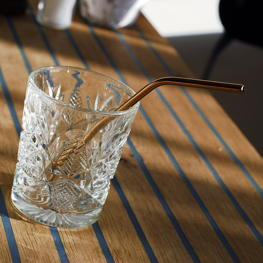 Men's Society - Copper Plated Cocktail Straw - Set of 4