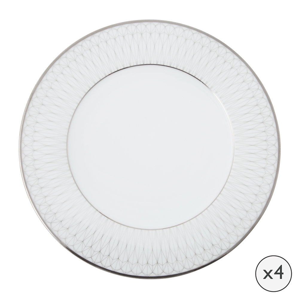 A by Amara - Prism Porcelain Dinner Plates - Set of 4 - Platinum