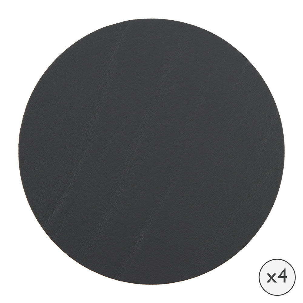A by Amara  Round Leather Coasters  Set of 4  Graphite