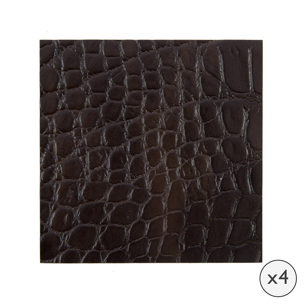 A by Amara  Gator Recycled Leather Coasters  Set of 4  Dark Chocolate