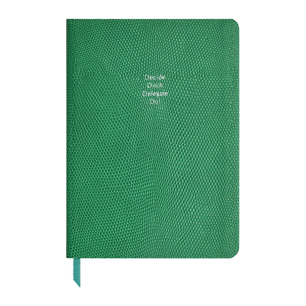 Organise-Us - 'Decide Ditch Delegate Do!' Medium Leather Notebook - Emerald Green