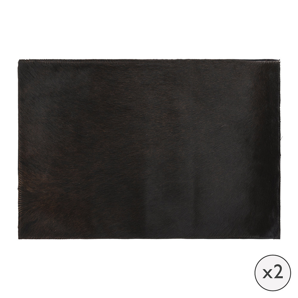 A by AMARA - Cowhide Placemats - Set of 2 - Chocolate