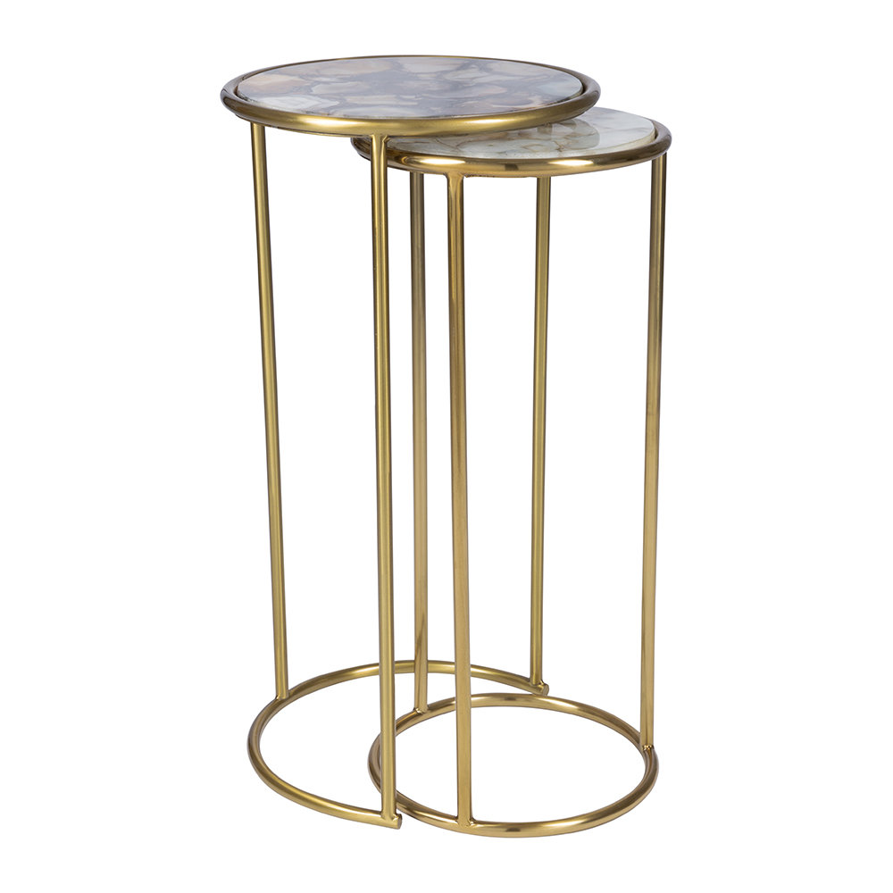 Round Dark Agate Side Tables   Set Of 2