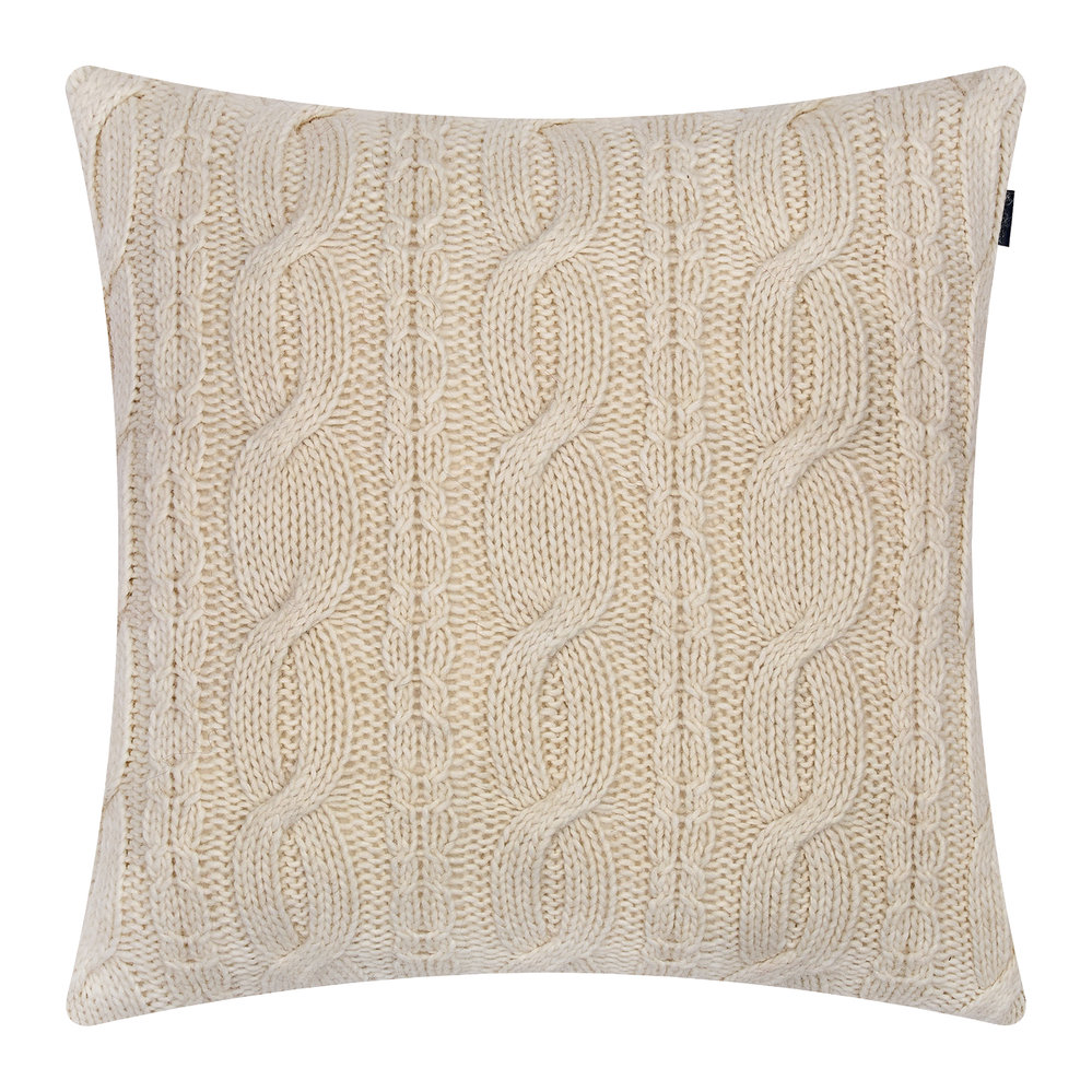 GANT - Chunky Cable Knit Cushion - 50x50cm - Eggshell