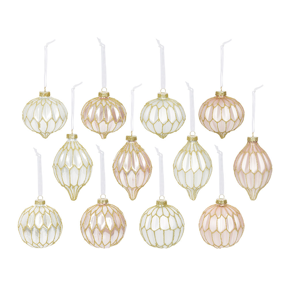 Image of A by AMARA Christmasatt & Shiny Baubleset of 12 - Pink/Winter White