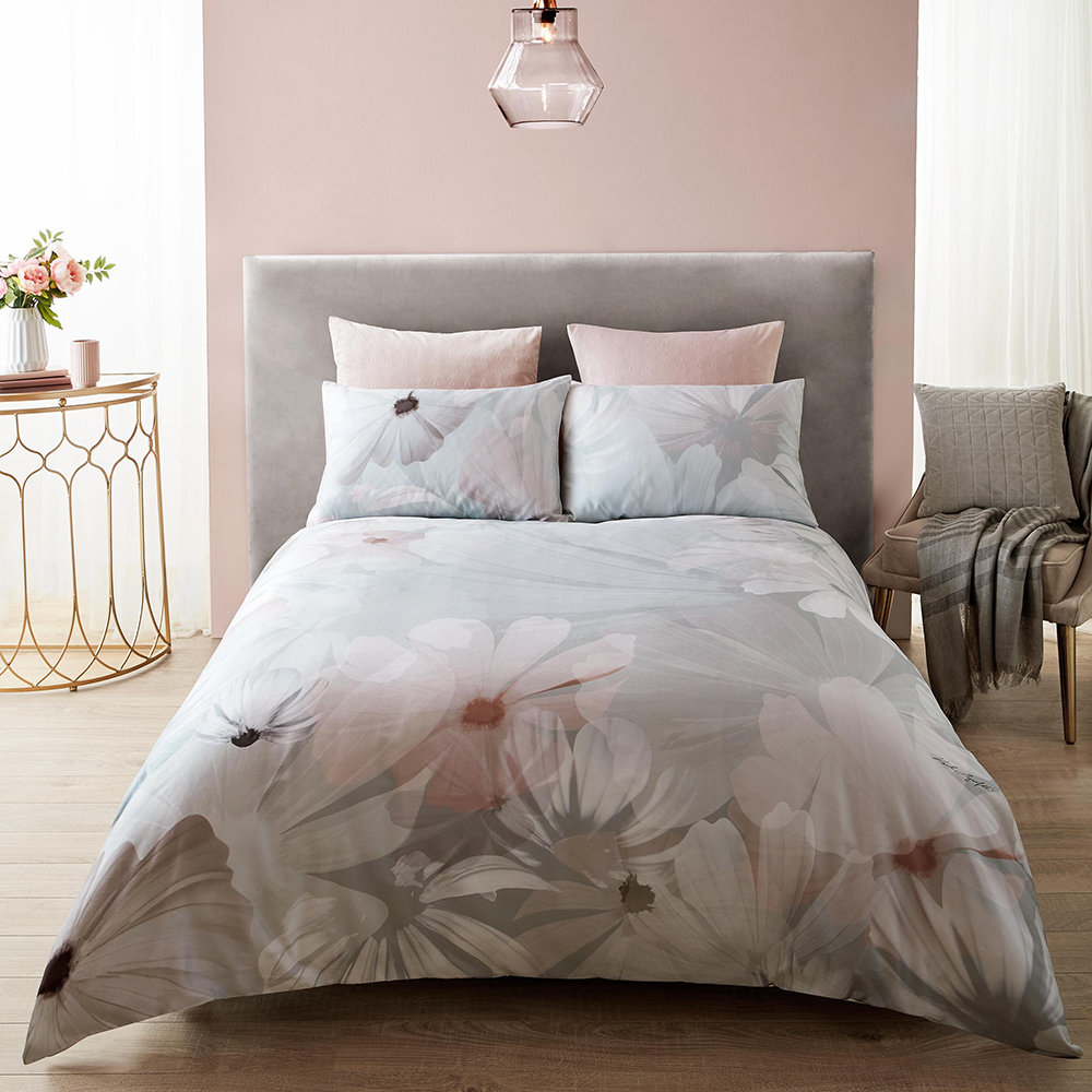Karl Lagerfeld - Digital Daisy Duvet Cover - Grey/Blush - Double