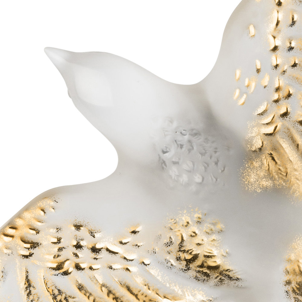 Lalique - Swallow Sculpture - Clear & Gold - Clear & Gold