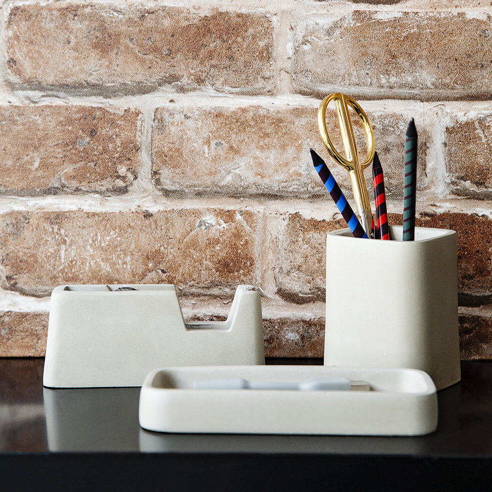 Areaware - Concrete Desk Accessories Set - Gray
