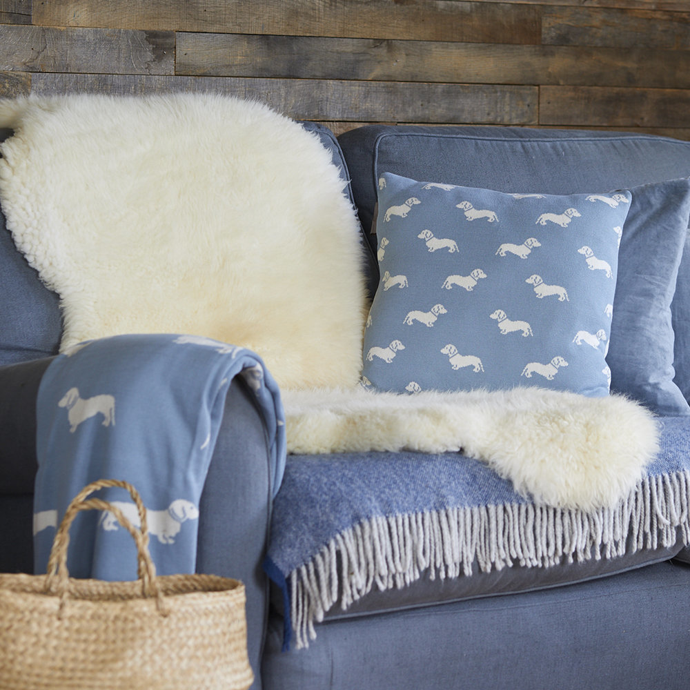 Emily Bond - Knitted Dachshund Throw - Blue