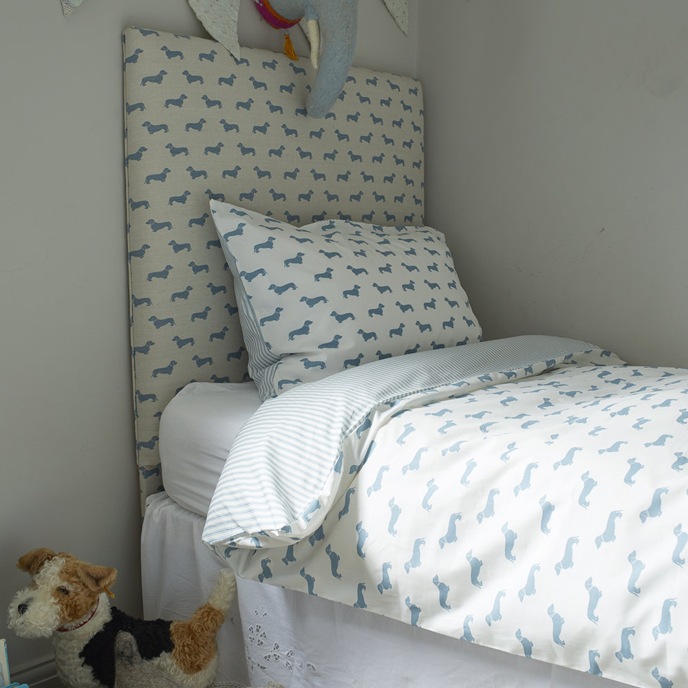 Emily Bond - Dachshund Blue Quilt Set - Double