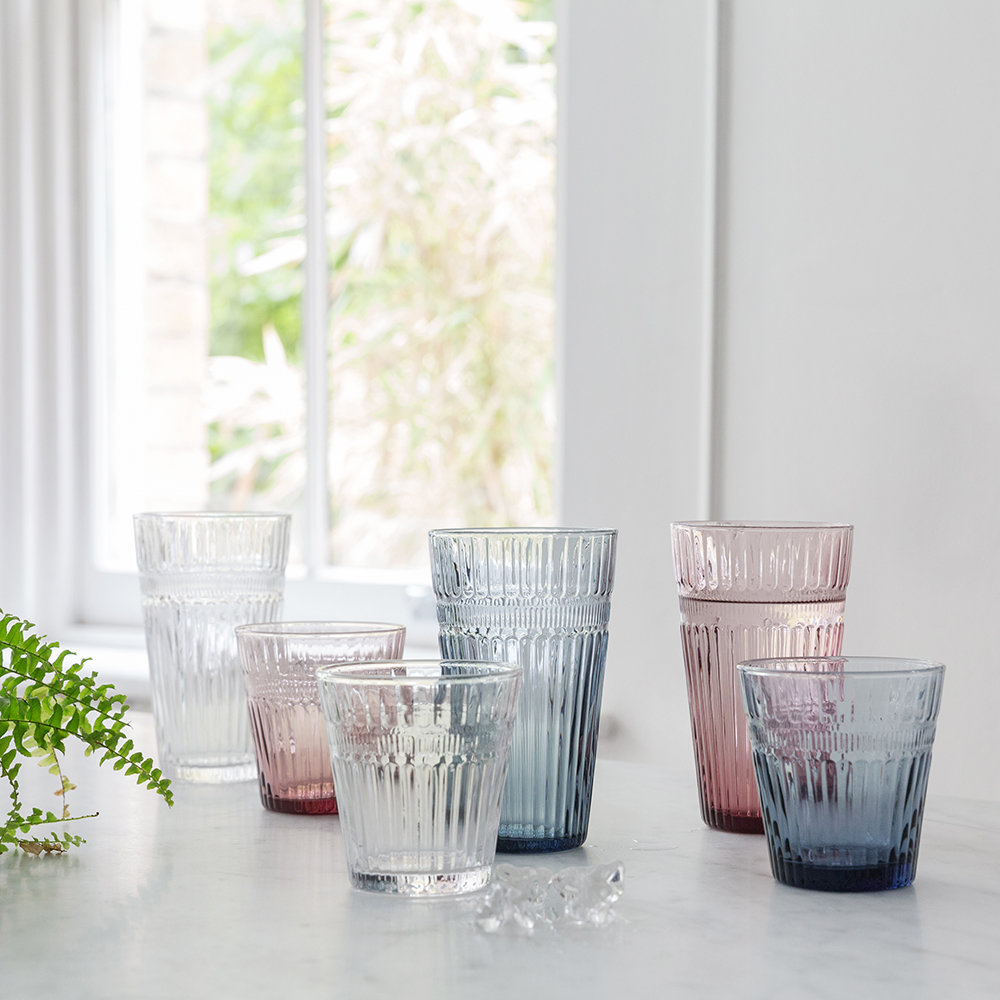 A by AMARA - Barroc Glass Tumblers - Set of 6 - Iron Blue